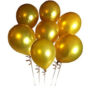 Elecrainbow 100 Pack 12 Inch 3.2 g/pc Thicken Round Metallic Pearlescent Latex Gold Balloons