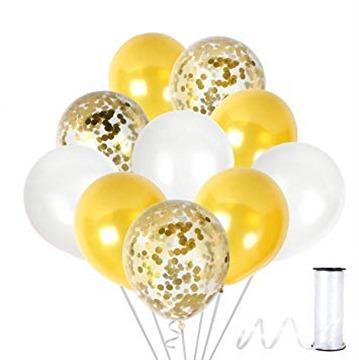 Metallic White and Gold Balloon Gold Confetti Balloons