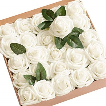 Artificial Flowers 25pcs Real Looking Ivory Fake Roses